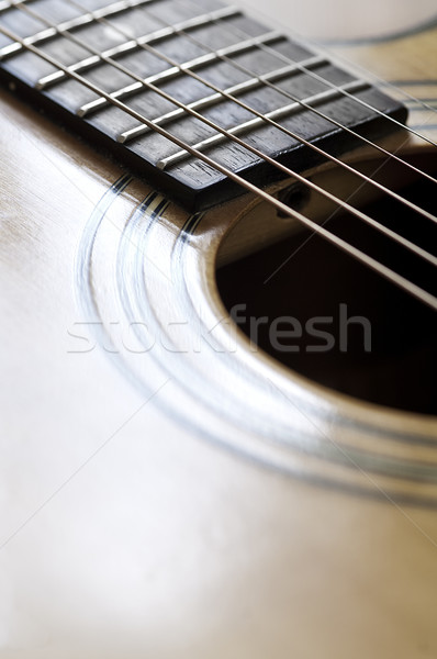 Guitare acoustique vue corps bois guitare Photo stock © thisboy