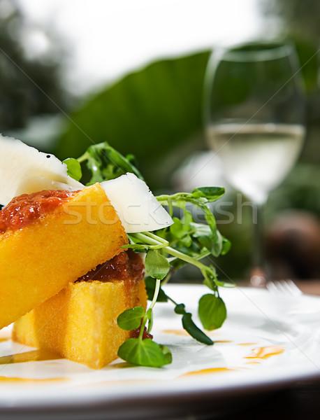 Domates sosu peynir hizmet cam beyaz şarap Stok fotoğraf © thisboy