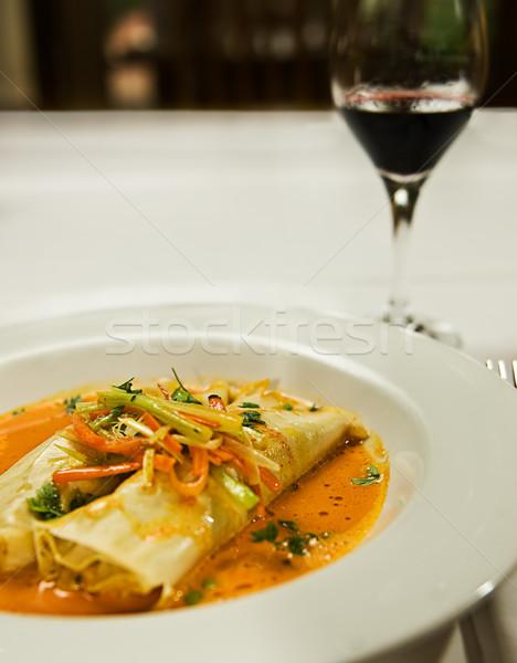 Sopa pasta plato servido hortalizas restaurante Foto stock © thisboy