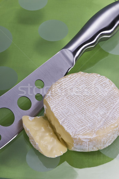 Fromages verre vert table drap couteau Photo stock © thisboy