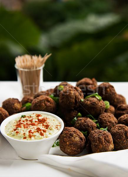 Köfte otlar hizmet gıda restoran top Stok fotoğraf © thisboy