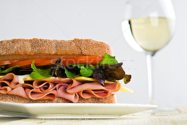 сэндвич стекла вино куриные хлеб Сток-фото © thisboy