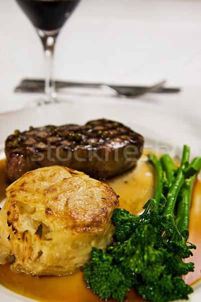 Biftek ızgara hizmet patates kek sos Stok fotoğraf © thisboy