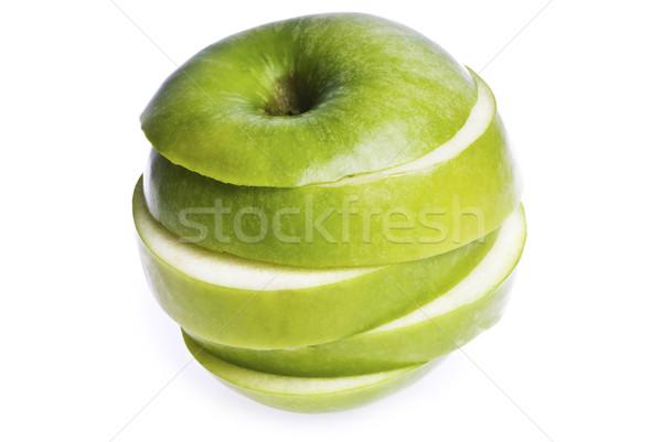 Elma parçalar yalıtılmış beyaz yeşil Stok fotoğraf © thisboy