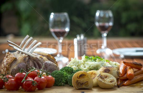 Fogas bárány pörkölt vegyes zöldségek hagymák Stock fotó © thisboy