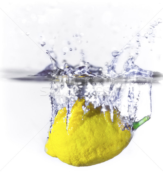 лимона всплеск воды продовольствие фрукты синий Сток-фото © thisboy