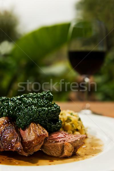 Cordero plato al vapor col servido agradable Foto stock © thisboy