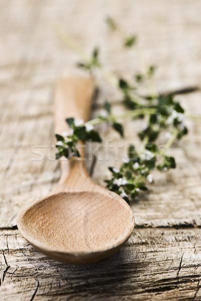 Cuchara de madera rústico frescos hierbas edad Foto stock © thisboy