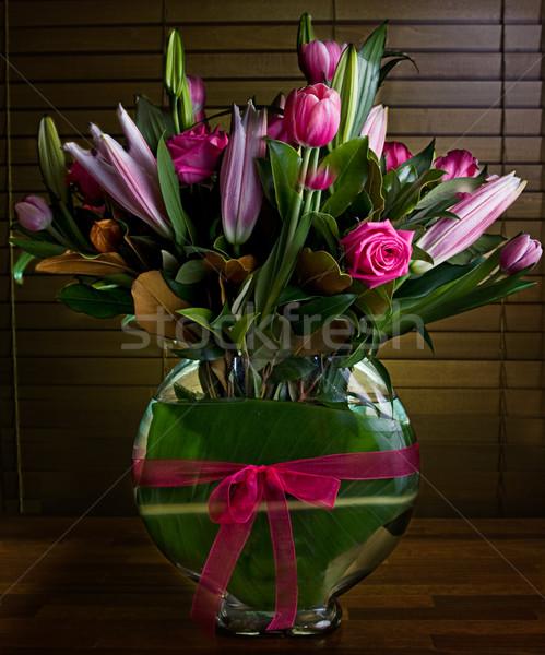 Vazo çiçekler çiçek bahar yaprak Stok fotoğraf © thisboy