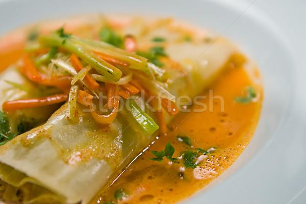 çorba makarna yemek hizmet sebze restoran Stok fotoğraf © thisboy
