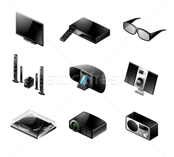Electronics icon set - TV and audio Stock photo © ThomasAmby