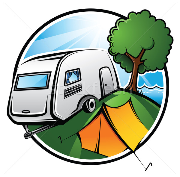 Camping idilliaco caravan tenda albero Foto d'archivio © ThomasAmby