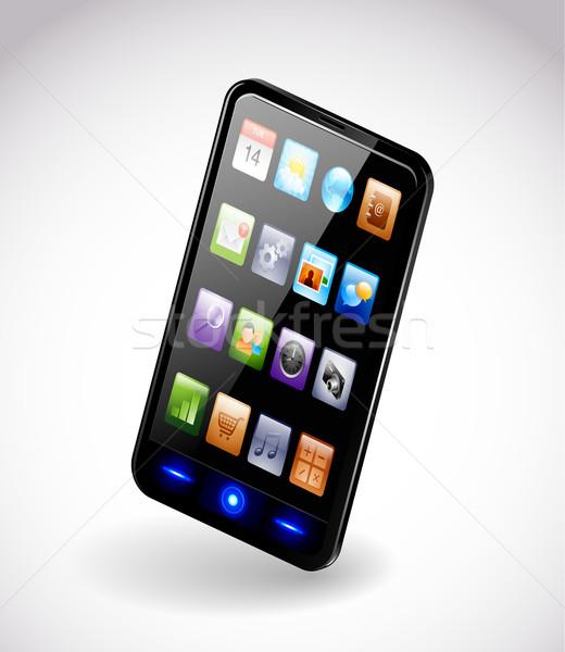 Сток-фото: смартфон · подробный · современных · телефон · технологий · экране