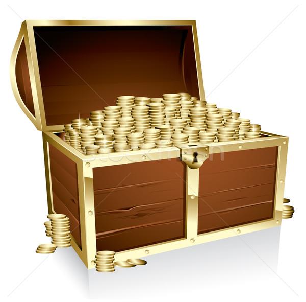 Kincsesláda érmék fából készült arany üzlet fém Stock fotó © ThomasAmby