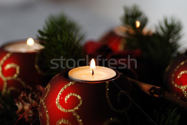 Vela advenimiento cuatro hermosa Navidad árbol Foto stock © thomaseder