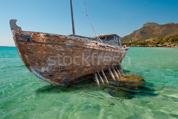 Сток-фото: судно · крушение · старые · утес · древесины · пейзаж