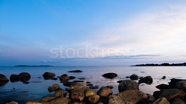 Zweden zonsondergang zee zomer hemel water Stockfoto © thomland