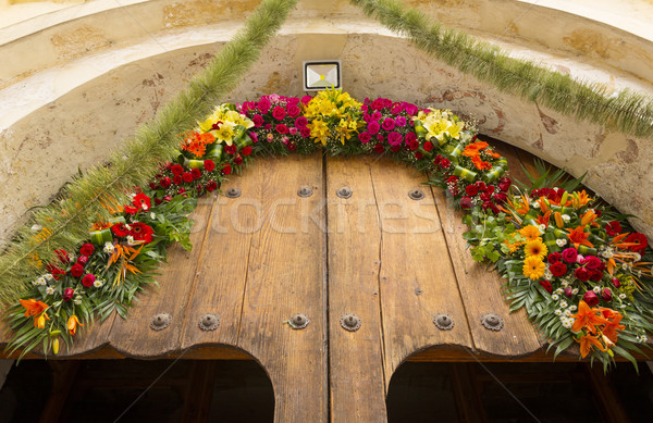 Floral Mexican Church Door Stock photo © THP