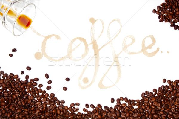 ストックフォト: コーヒー · 書かれた · 言葉 · コーヒー豆 · 周りに