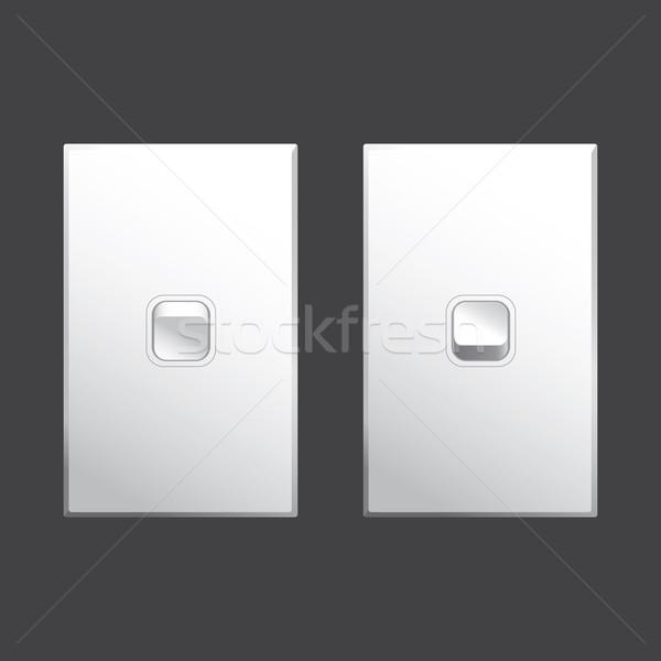 Lichtschakelaar vector beide af posities witte Stockfoto © THP