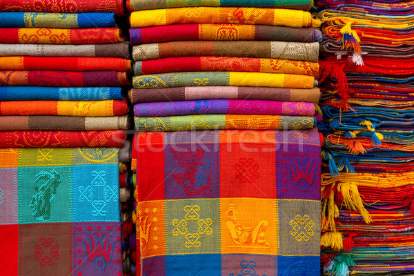 материальных текстуры ярко сложенный рынке ткань Сток-фото © THP