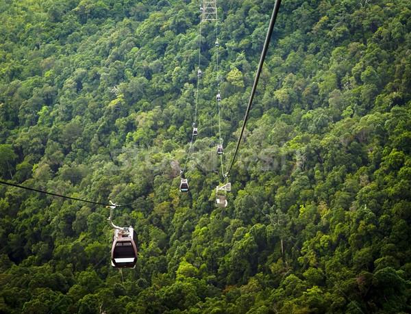 Kábel autó elképesztő vonalak hegy ázsiai Stock fotó © THP