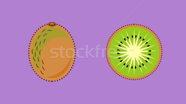 Kiwi gyümölcs szalag vektor egész szeletel Stock fotó © THP