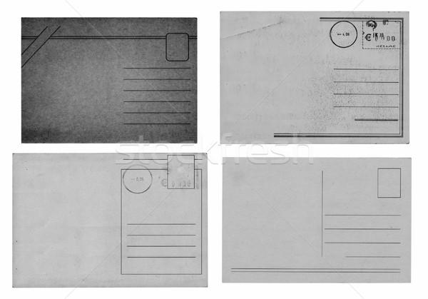 Foto stock: Velho · cartões · postais · grunge · veja · isolado · alto