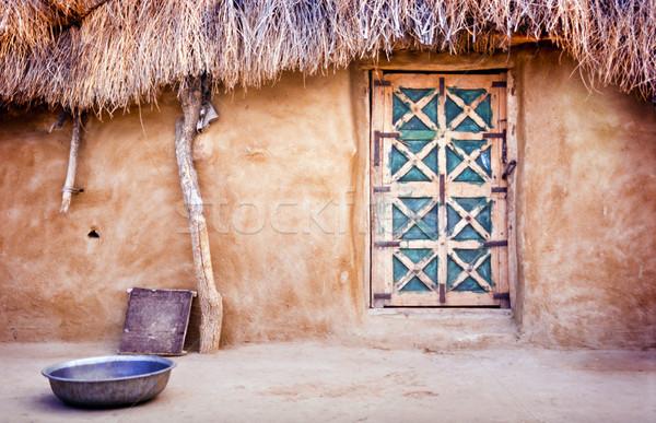 Dorp hut buitenkant groot woestijn Indië Stockfoto © THP