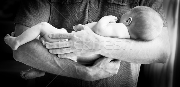 Father Holding Newborn Baby Boy Black and White Stock photo © THP