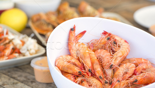 Bowl Of Prawns Stock photo © THP