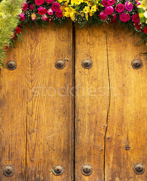 Flower Arrangement On Timber Background Stock photo © THP