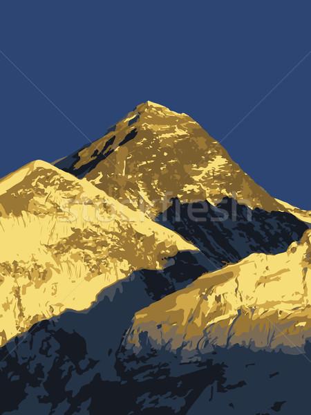 Everest Dağı gün batımı vektör dağ Nepal Stok fotoğraf © THP