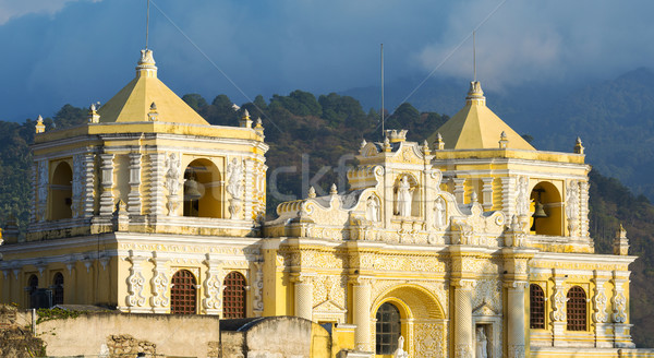 Baroque Yellow Church In Antigua Stock photo © THP