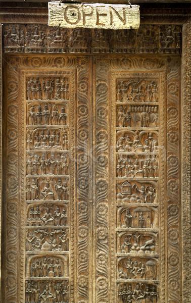 ősi kapualj fából készült textúra fa háttér Stock fotó © THP