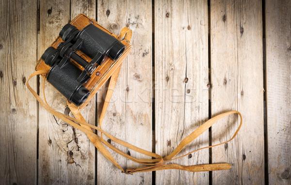 Eski dürbün çift bağbozumu deri kayış Stok fotoğraf © THP