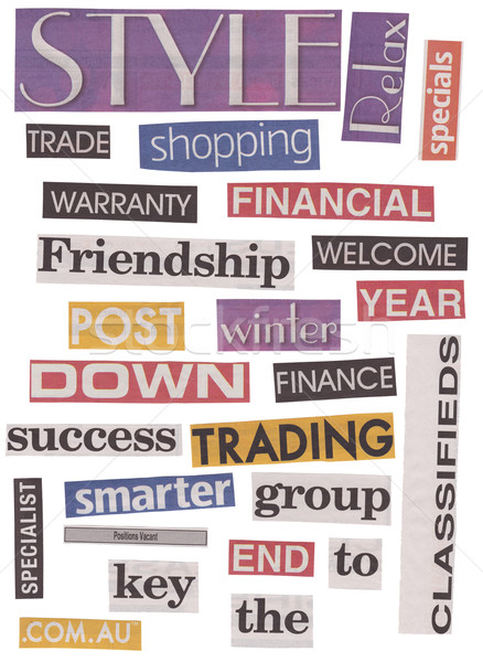 Newspaper Words Isolated Stock photo © THP
