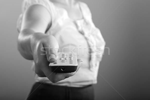 Remote Control Woman Black and White Stock photo © THP