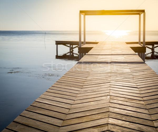 Geistigen Holz sunrise Abschluss Wasser Stock foto © THP