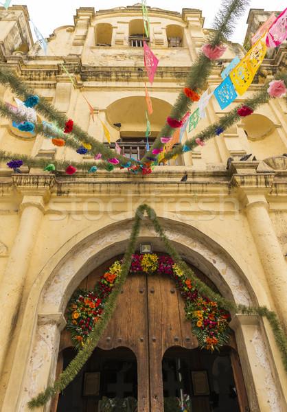 église porte décorations Mexique floral bois Photo stock © THP