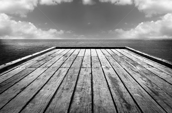 Wooden Surface Sky Background Black and White Stock photo © THP