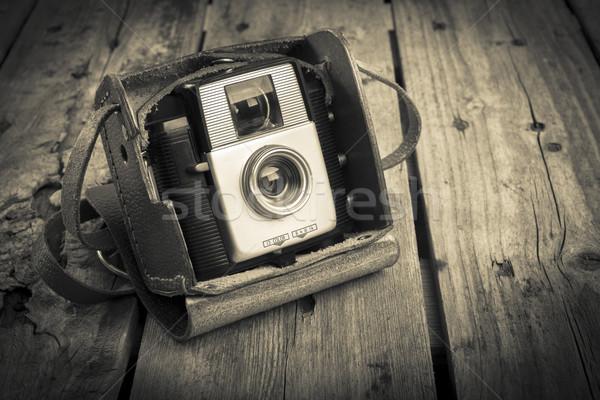 Régi fényképezőgép öreg kamera eredeti klasszikus bőr Stock fotó © THP