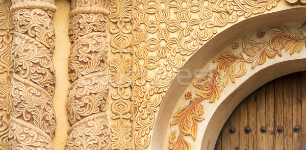 Kerkarchitectuur houten deur amerikaanse barok Stockfoto © THP