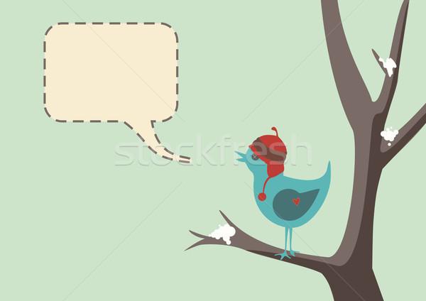 Stock fotó: Tél · madár · stílus · vektor · aranyos · visel