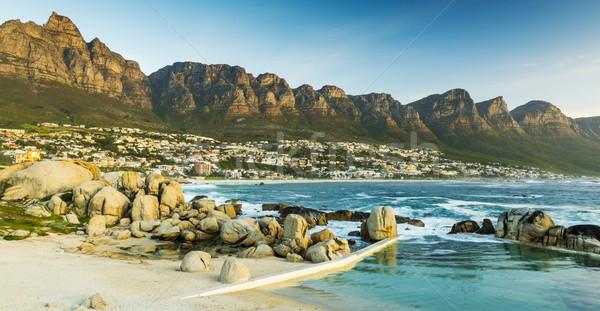 Oniki gün batımı Güney Afrika plaj doğa deniz Stok fotoğraf © THP