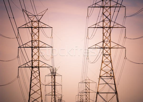Távvezeték égbolt technológia fém keret narancs Stock fotó © THP