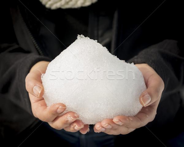 Palla di neve donna enorme nudo mani poco profondo Foto d'archivio © THP
