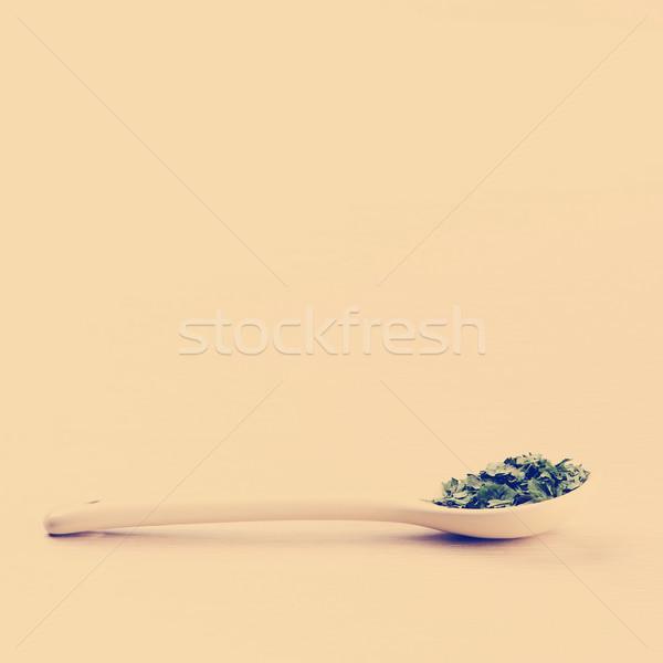 Coriandolo cucchiaio legno copia spazio foglia salute Foto d'archivio © THP