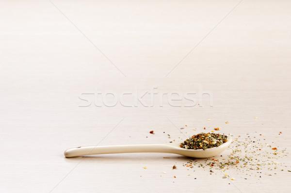 Italien assaisonnement cuillère feuille santé fond Photo stock © THP