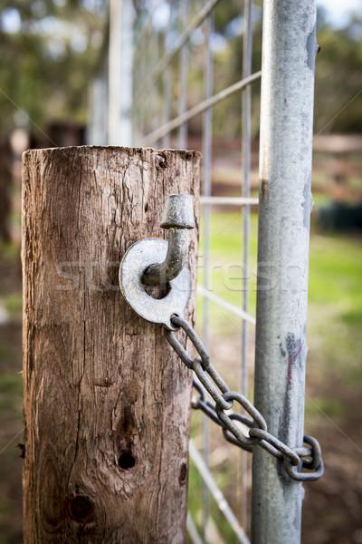 Сток-фото: фермы · ворот · блокировка · классический · австралийский